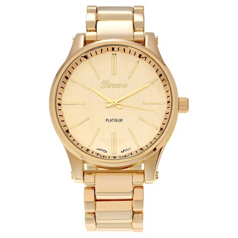 Women's Geneva Platinum Polished Round Face Metal Link Watch - image 1 of 3