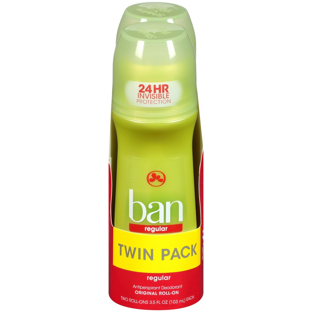 Ban Regular Antiperspirant Roll-On Deodorant - 3.5oz/2pk