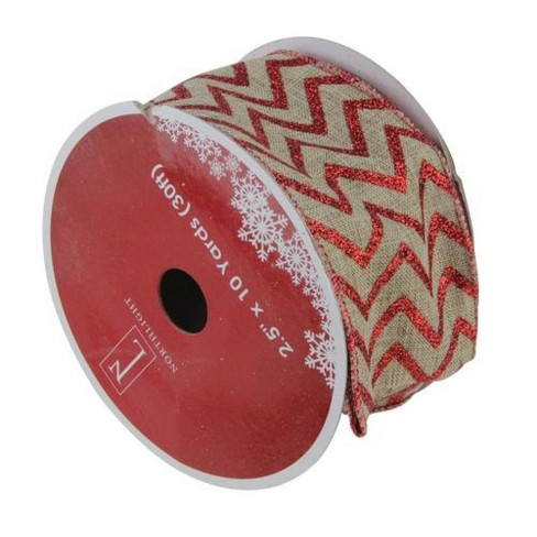 "Northlight Dazzling Red and White Chevron Wired Christmas Craft Ribbon 2.5"" x 10 Yards - image 1 of 3"