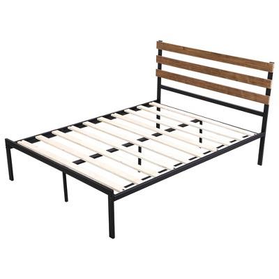 Costway Twin Size Metal Platform Bed Frame Mattress Foundation wooden Headboard