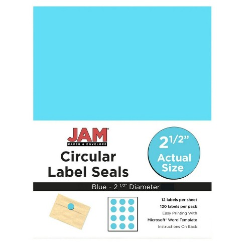 "JAM Paper® Circle Sticker Seals 1 2/3"" 120ct - Bright Blue - image 1 of 3"
