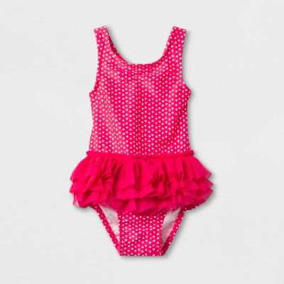 Baby Girls' Dotted One Piece Swimsuit - Cat & Jack™ Pink 9M