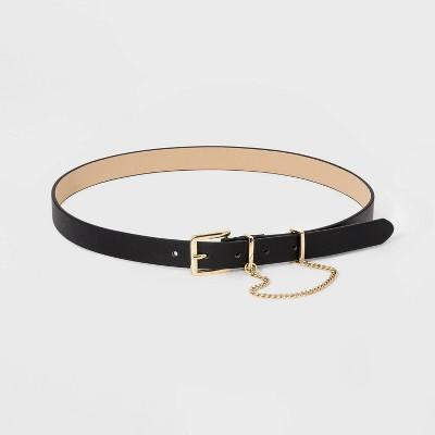 Women's Metal Loop Chain Belt - A New Day™ Black