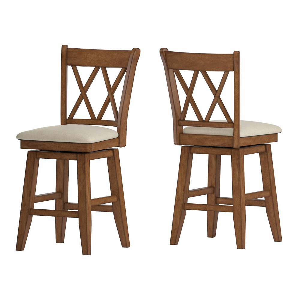 """Image of """"24"""""""" South Hill Double X Back Swivel Counter Height Chair Oak Brown - Inspire Q"""""""