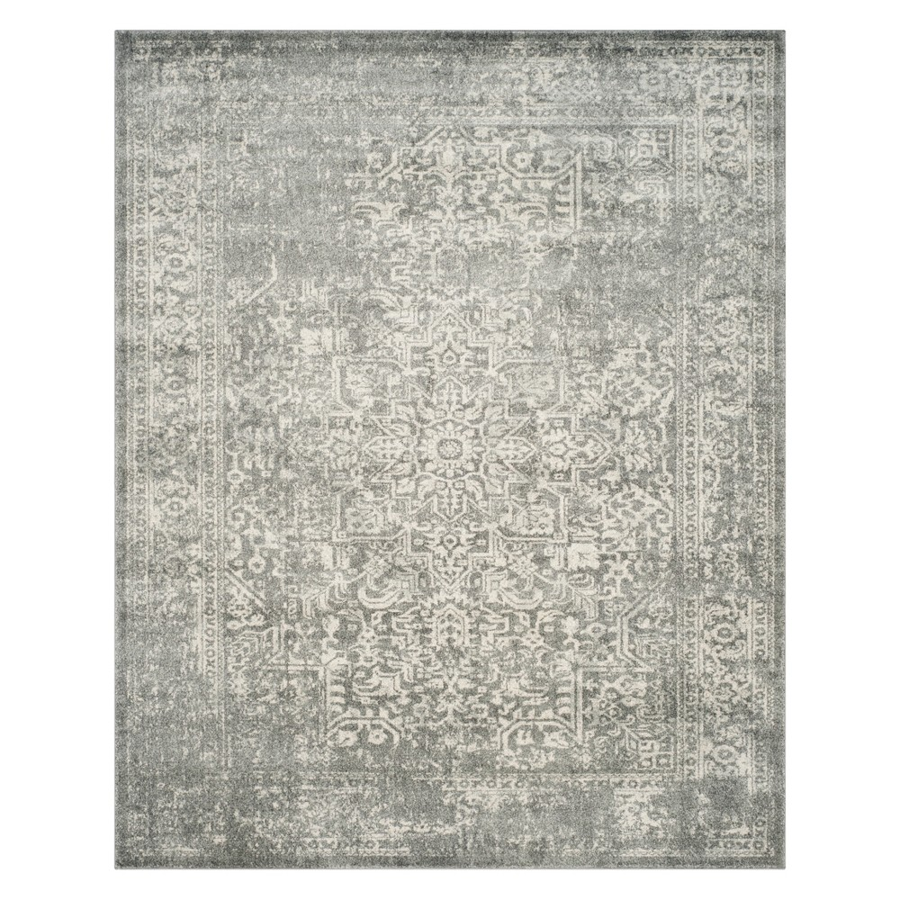 Medallion Area Rug Silver/Ivory