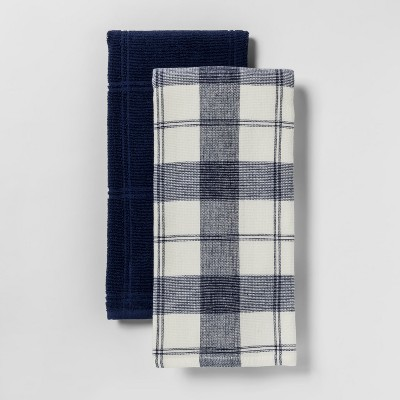 2pk Checked with Solid Kitchen Towel Blue - Threshold™