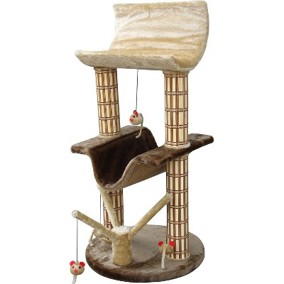 Penn-Plax Two Story Cat Perch and Play Tree with Mouse Toys