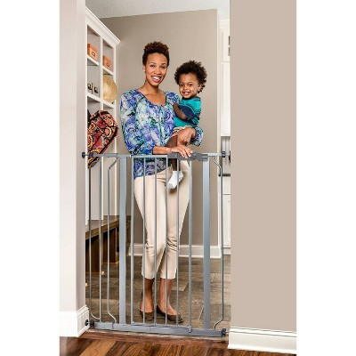 Regalo Extra Tall Easy Step Metal Walk Through Baby Gate - Platinum