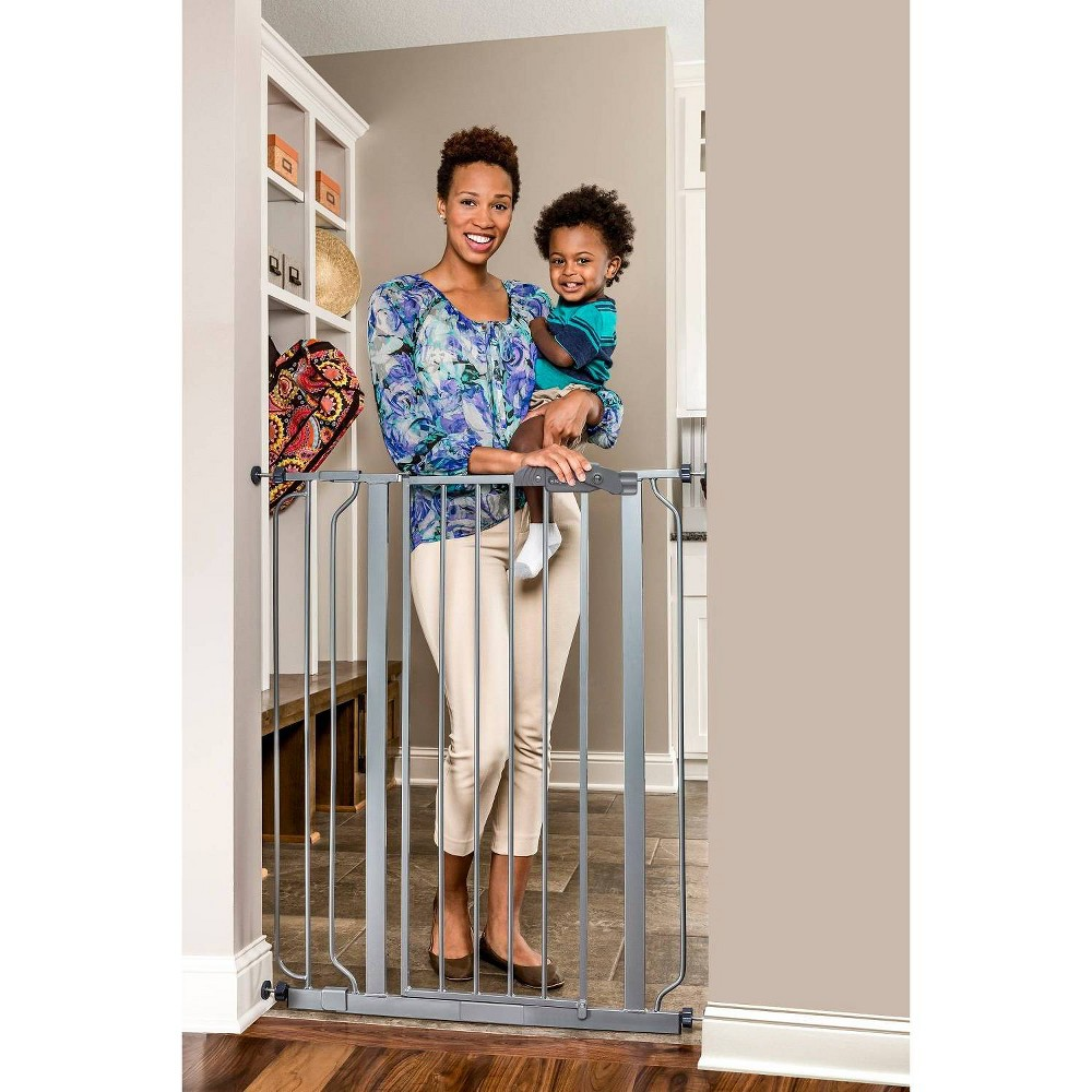 Image of Regalo Extra Tall Easy Step Metal Walk -Through Baby Gate - Platinum, Silver