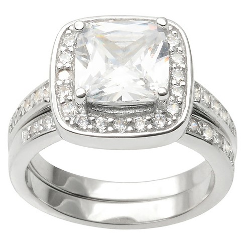 4 1/3 CT. T.W. Journee Collection Cushion Cut CZ Basket Set Halo Ring in Sterling Silver - image 1 of 2