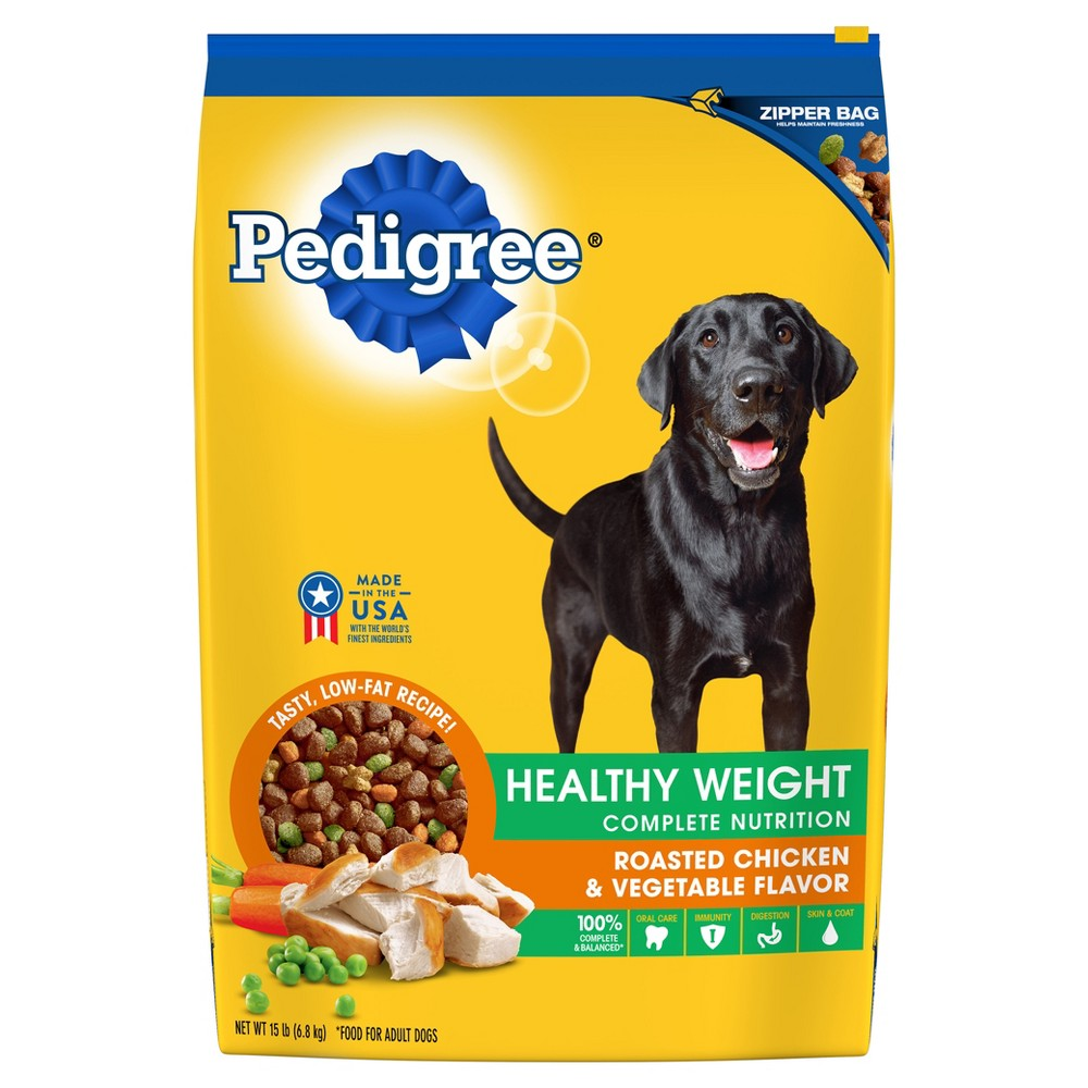Pedigree Adult Healthy Weight (Roasted Chicken & Vegetable) - Dry Dog Food - 15lb