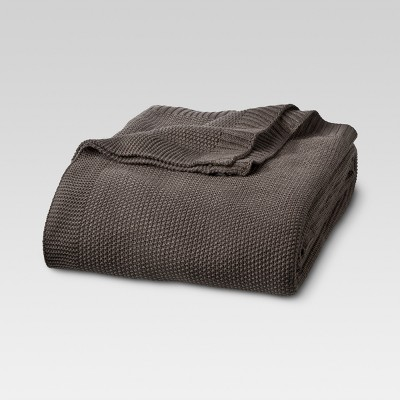 King Sweater Knit Bed Blanket Coffee - Threshold™