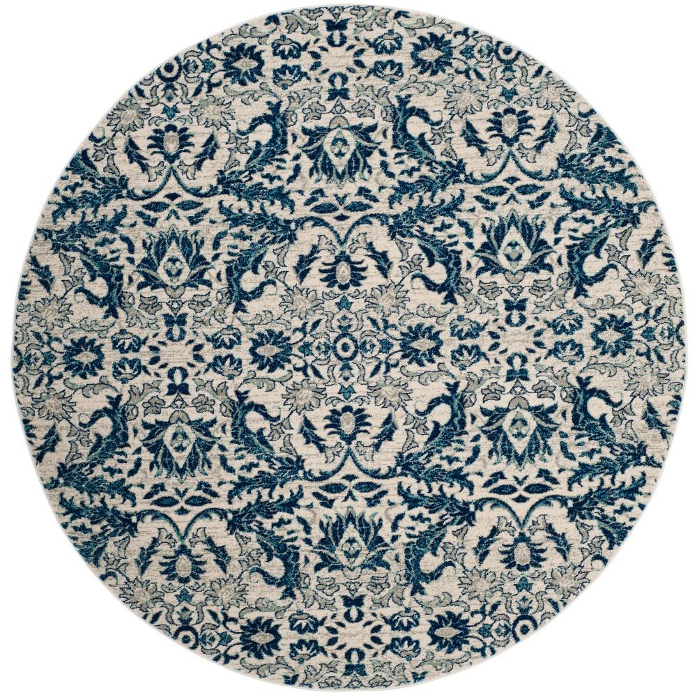 67 Floral Round Area Rug Ivory/Blue - Safavieh Promos