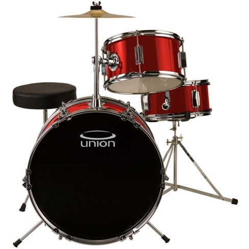 Union UJ3 3pc Junior Drum Set with Hardware, Cymbal, and Throne - Metallic Red - image 1 of 1