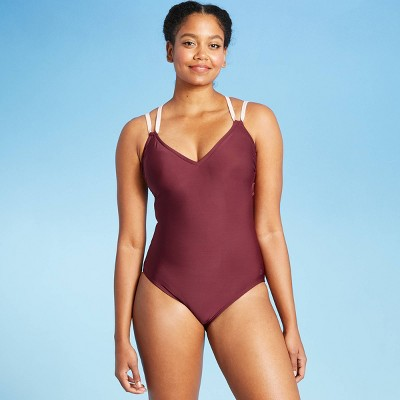 Women's Double Strap Laser Cut Back One Piece Swimsuit - All in Motion™ Burgundy
