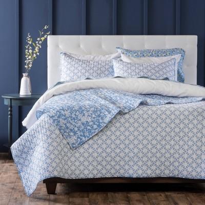 Pamela Floral Cotton Percale Quilt Set - Martha Stewart