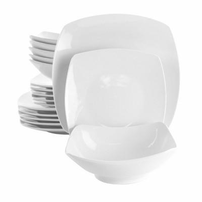 18pc Porcelain Newman Square Dinnerware Set White - Elama