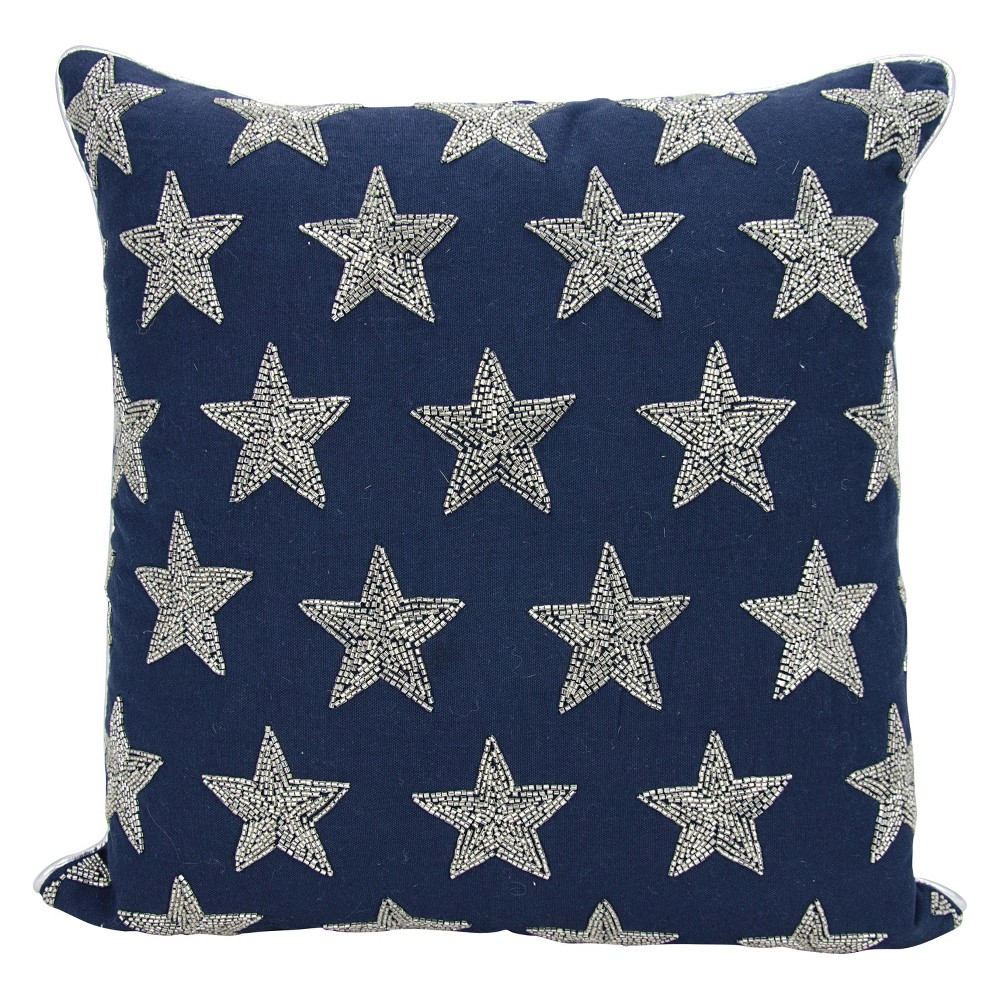 Image of Luminecence Beaded Stars Oversize Square Throw Pillow Navy (Blue)/Silver - Mina Victory