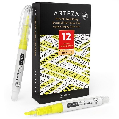 Arteza Liquid Highlighters, Chisel Tip, Yellow - Set of 12