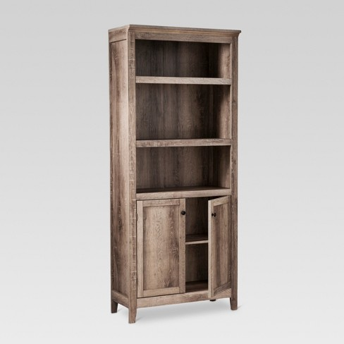 72 5 Shelf Bookcase W Storage Rustic