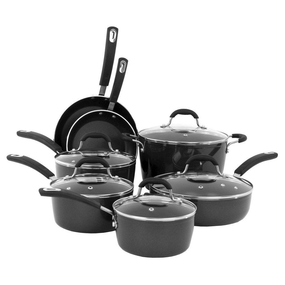 Image of Oneida 12 Piece Black Forged Aluminum Cookware Set With Glass Lids And An Induction Base And A Non-Stick Finish