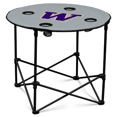 NCAA Washington Huskies University Gray Round Portable Dining Table
