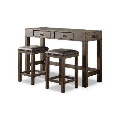 3pc Cohasset Counter Height Dining Set with USB Plug Gray - HOMES: Inside + Out