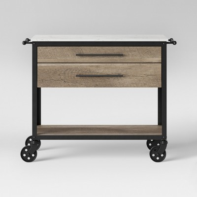 Derry Stone Top Mixed Material Kitchen Island Brown - Threshold™