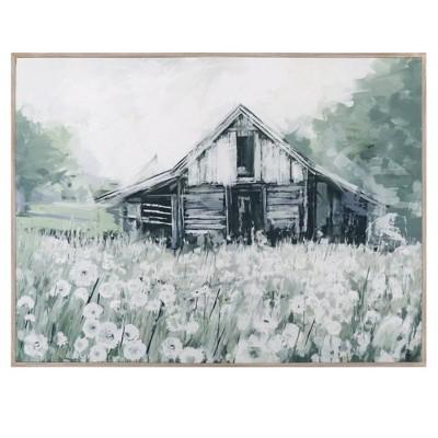 "30"" x 40"" Dandelion Barn by Studio Arts Wrapped Framed Wall Art Canvas - Fine Art Canvas"