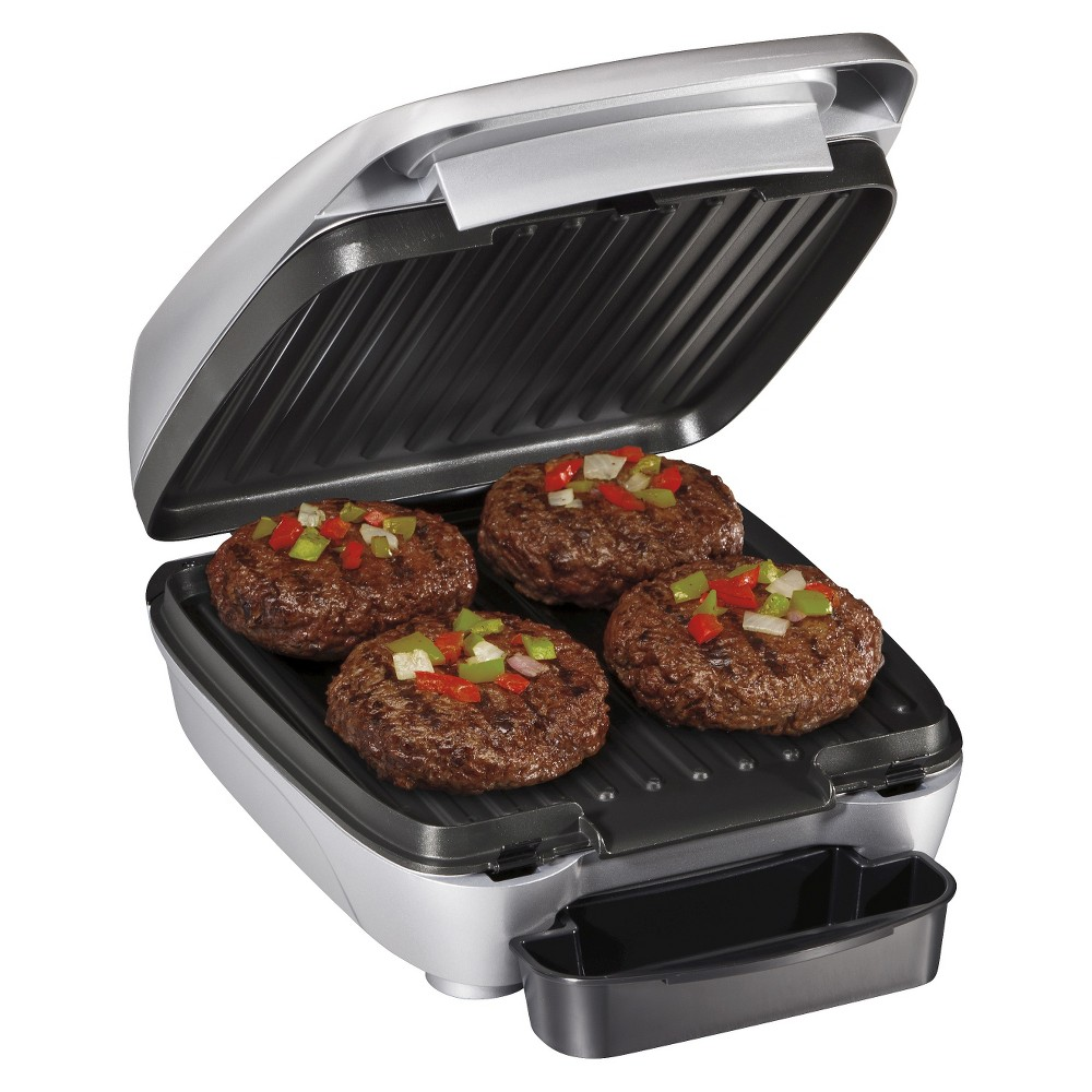 Hamilton Beach 60 Removable Plate Indoor Grill - 25359, Silver/Black Hamilton Beach offers indoor grills that give you the delicious results you're looking for. Plus, they feature easy-to-use controls and built-in versatility. For the ultimate in easy cleanup, this model has removable grids and drip trays that go right in the dishwasher. Color: Silver/Black.