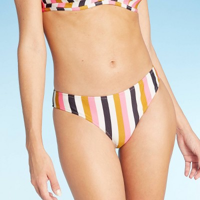 Women's Pique Textured Hipster Bikini Bottom - Shade & Shore™ Flamingo Pink Stripe