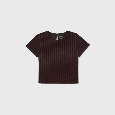 Girls' Lurex Striped Short Sleeve Top - art class™ Black