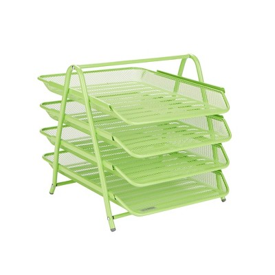 Mind Reader Desk Organizer with 4 Sliding Trays Green