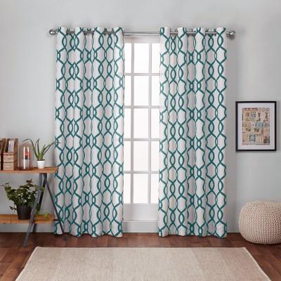 Kochi Linen Blend Grommet Top Window Curtain Panel Pair Teal (54 x96 )- Exclusive Home™