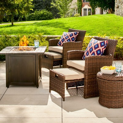 Halsted 6pc Wicker Patio Chat Set w/Fire Pit Table - Tan - Threshold™
