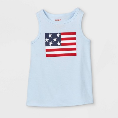Toddler Girls' Adaptive 4th of July Graphic Tank Top - Cat & Jack™ Light Blue