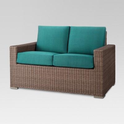 Heatherstone Wicker Patio Loveseat - Turquoise - Threshold™