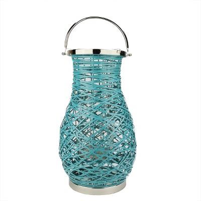 "Northlight 18.5"" Modern Turquosie Blue Decorative Woven Iron Pillar Candle Lantern with Glass Hurricane"