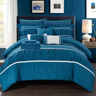 Stieg 10 Piece Comforter Bed in a Bag Sheet Set Decorative Pillows Shams Grey