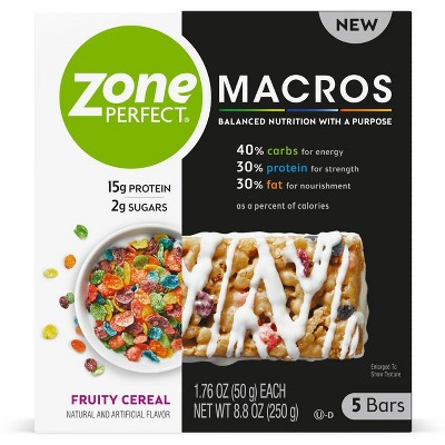 Zone Perfect Macros Fruity Cereal Nutrition Bars - 5ct