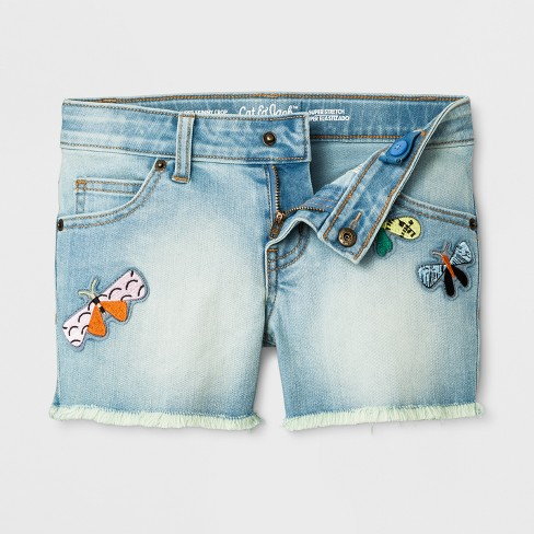 Girls' Denim Shorts With Patches - Cat & Jack™ Light Blue - image 1 of 2