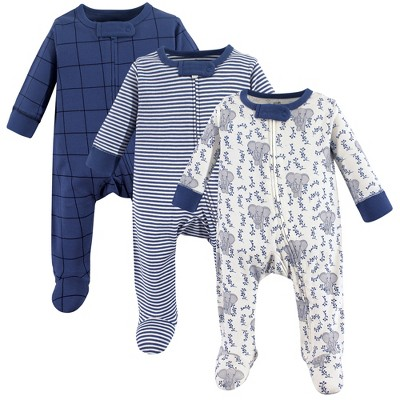 Touched by Nature Baby Boy Organic Cotton Zipper Sleep and Play 3pk, Elephant