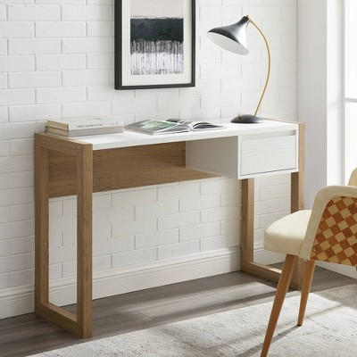 Claudine Chic Two-Tone Writing Desk with Grooved Drawer - Saracina Home