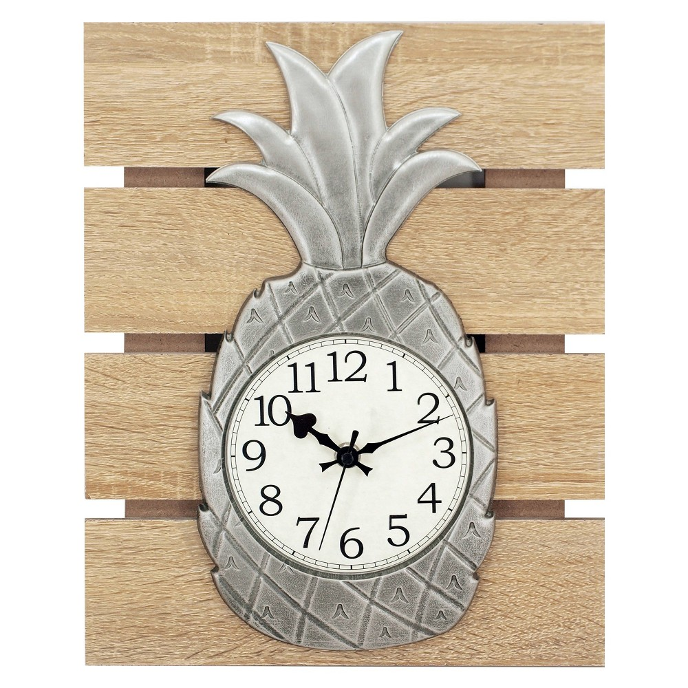 "Image of ""13"""" Pineapple On Slat Resin Case Wall Clock Brown - MZB, White Brown"""