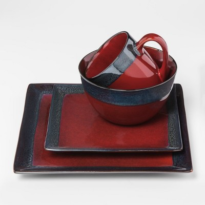 Square Stoneware 16pc Dinnerware Set Red - Threshold™