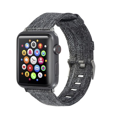 Insten Canvas Woven Fabric Band for Apple Watch 42mm 44mm All Series SE 6 5 4 3 2 1, For Women Girls Men Replacement Strap, Black Gray