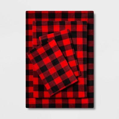 King Printed Pattern Fleece Sheet Set Red Buffalo Check - Room Essentials™