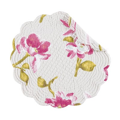 C&F Home Liliann Cotton Quilted Round Reversible Placemat Set of 6