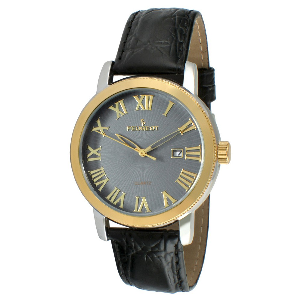 Men's Peugeot Round Leather Strap Calendar Watch - Black, Size: Small