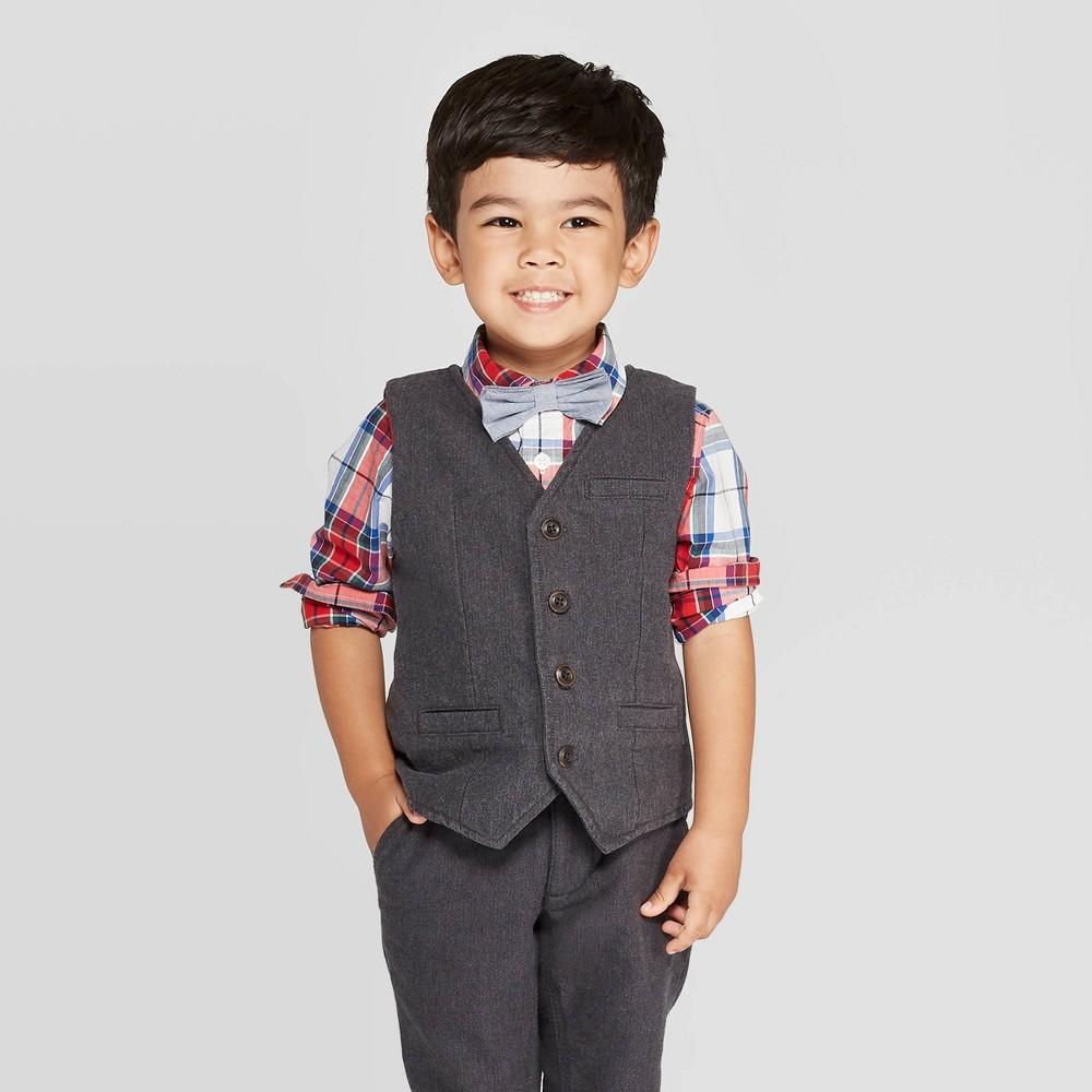 Image of OshKosh B'gosh Toddler Boys' Herringbone Vest - Dark Gray 2T, Toddler Boy's